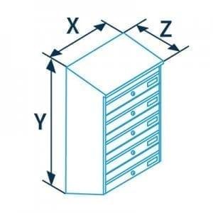 Sublokuota pašto dėžutė PD93 matmenys